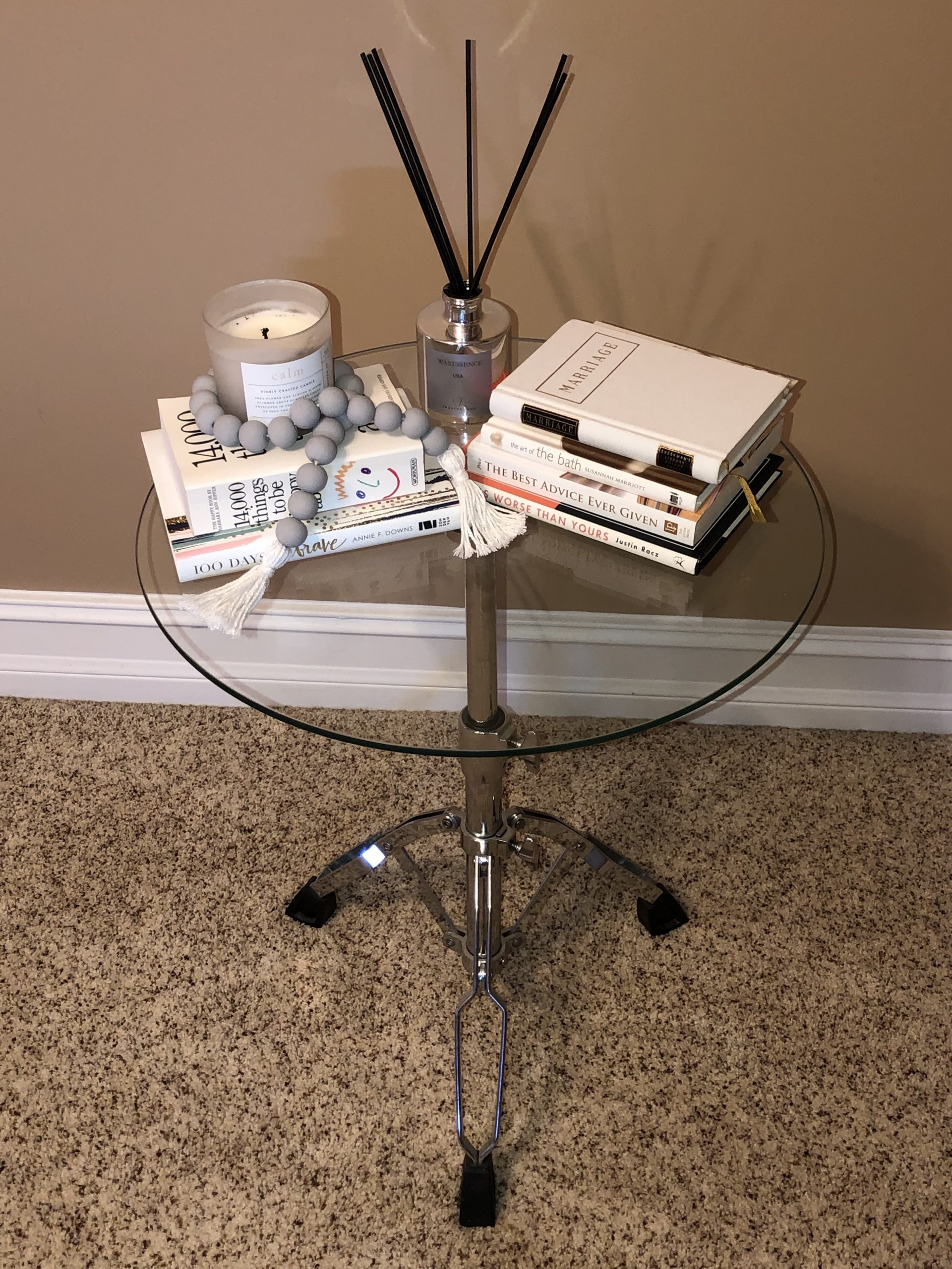 side table with thrifted books
