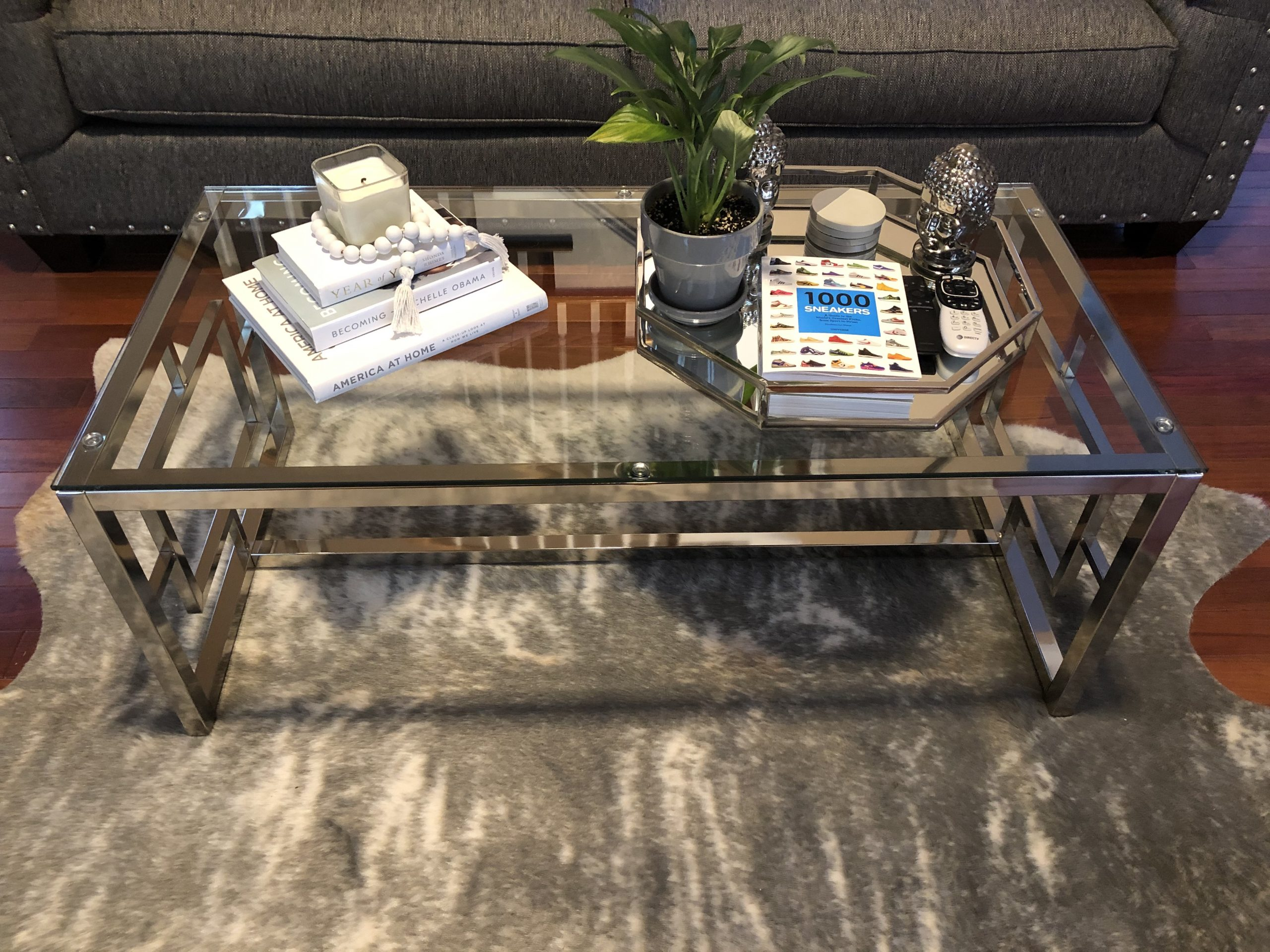 coffee table with thrifted decor