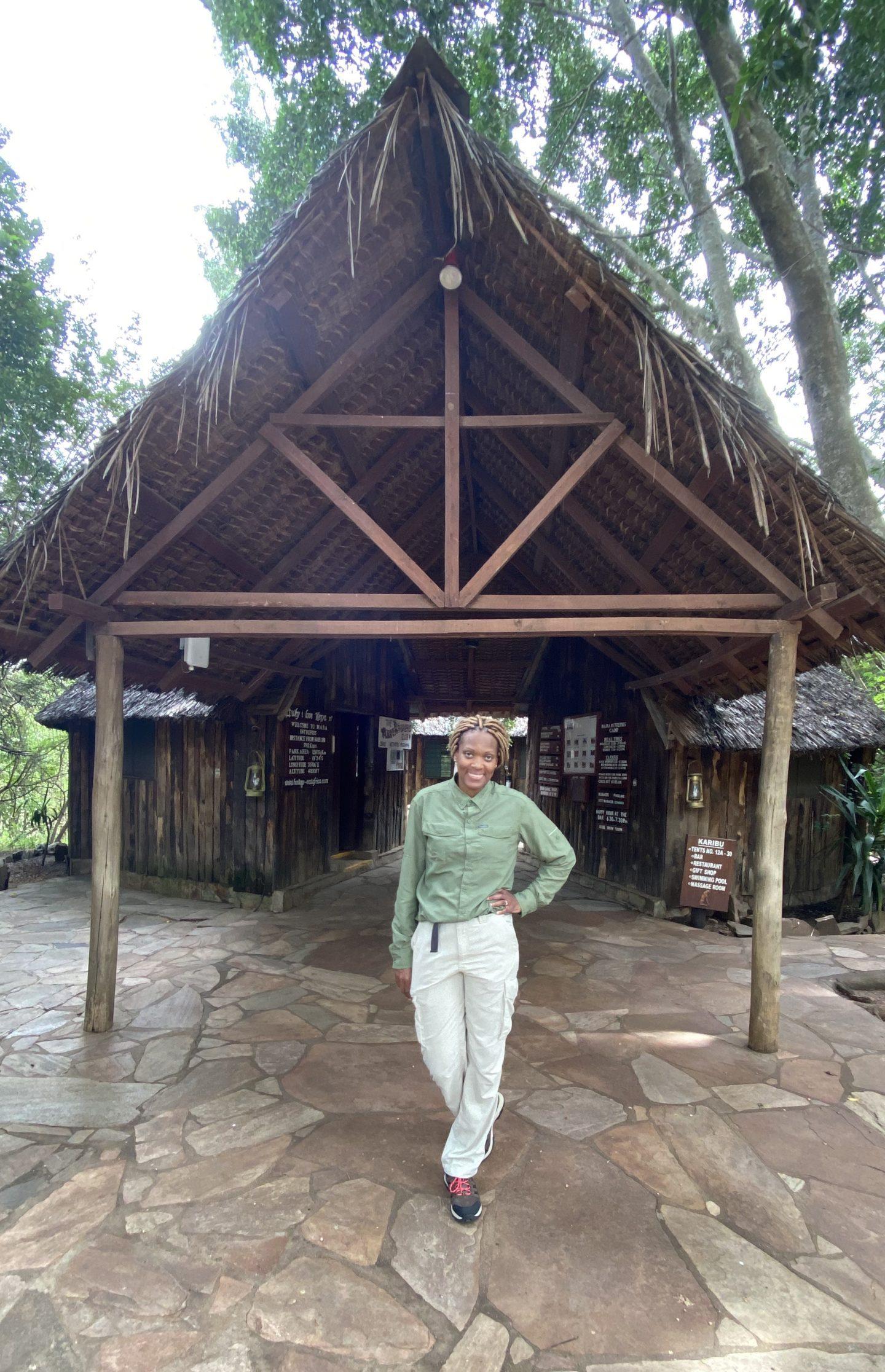woman posing at Kenya reserve lobby