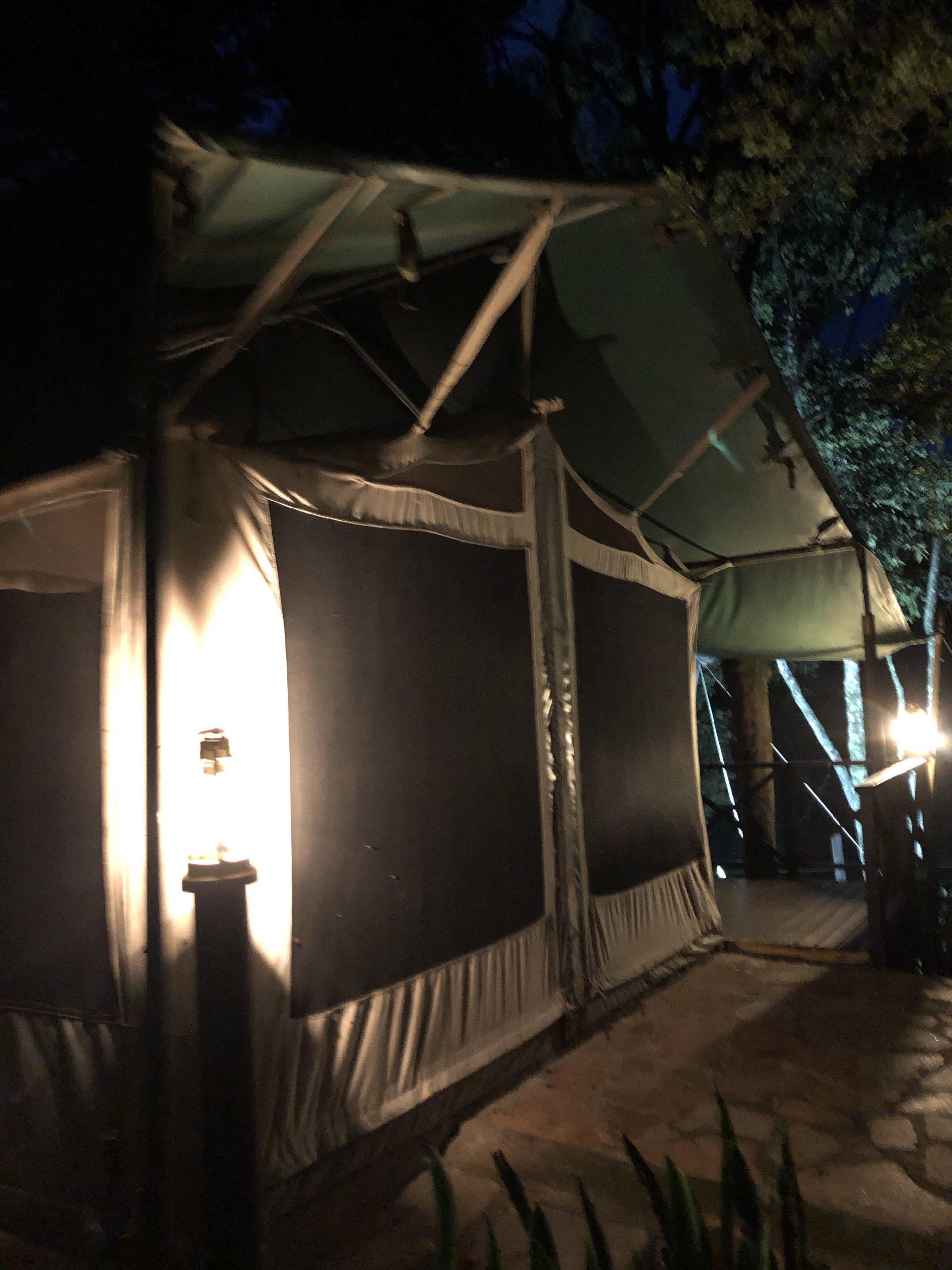night view of luxury tent at Maasai Mara
