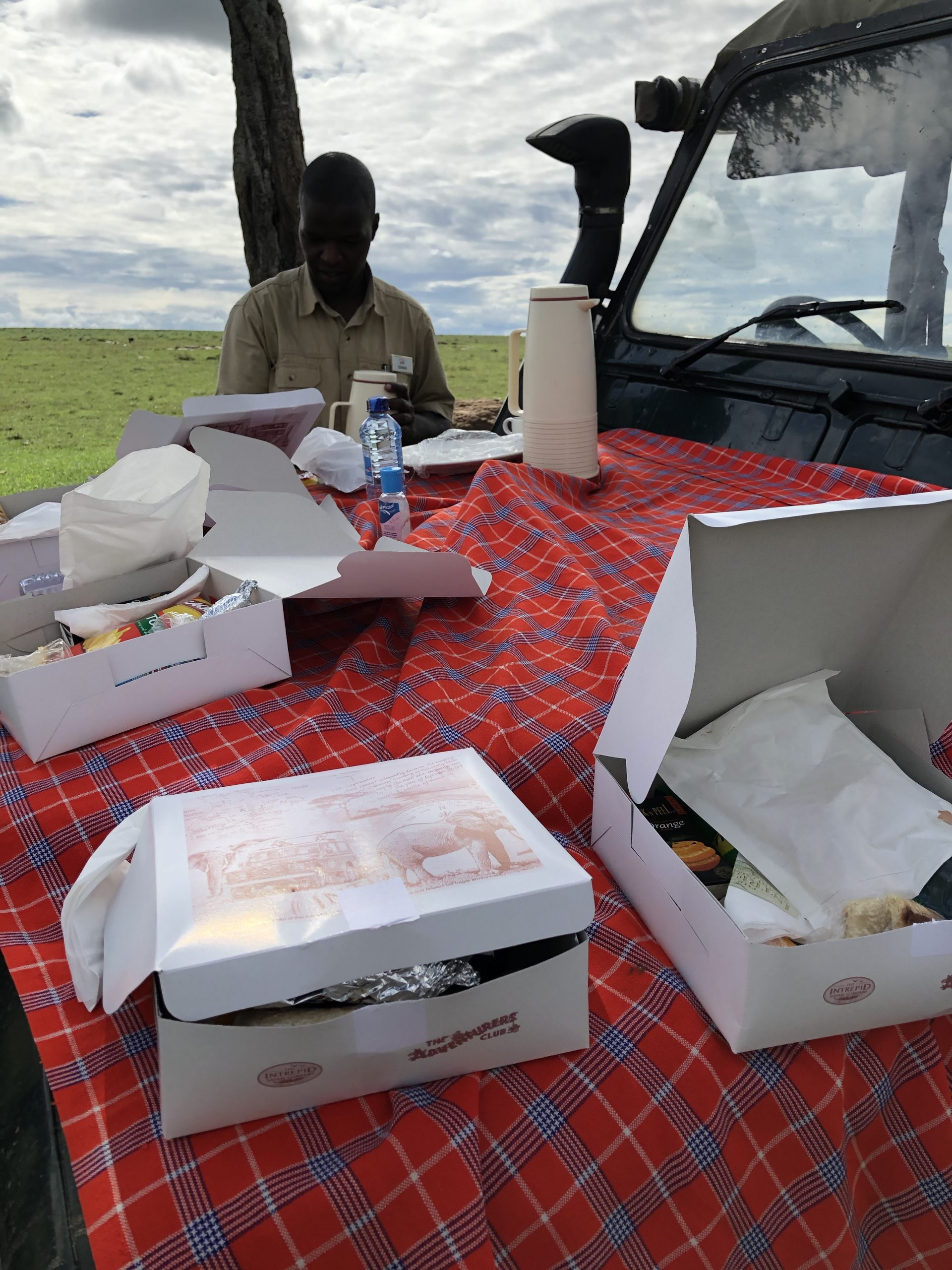 box lunch on hood of safari jeep