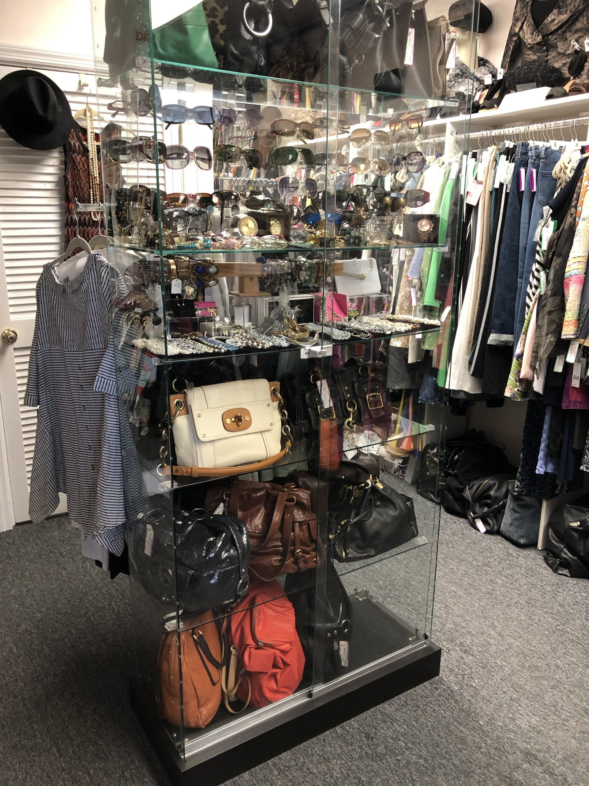 consignment shop purse display