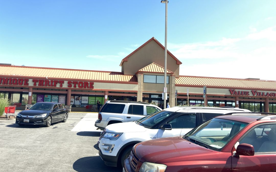outside view of double thrift store