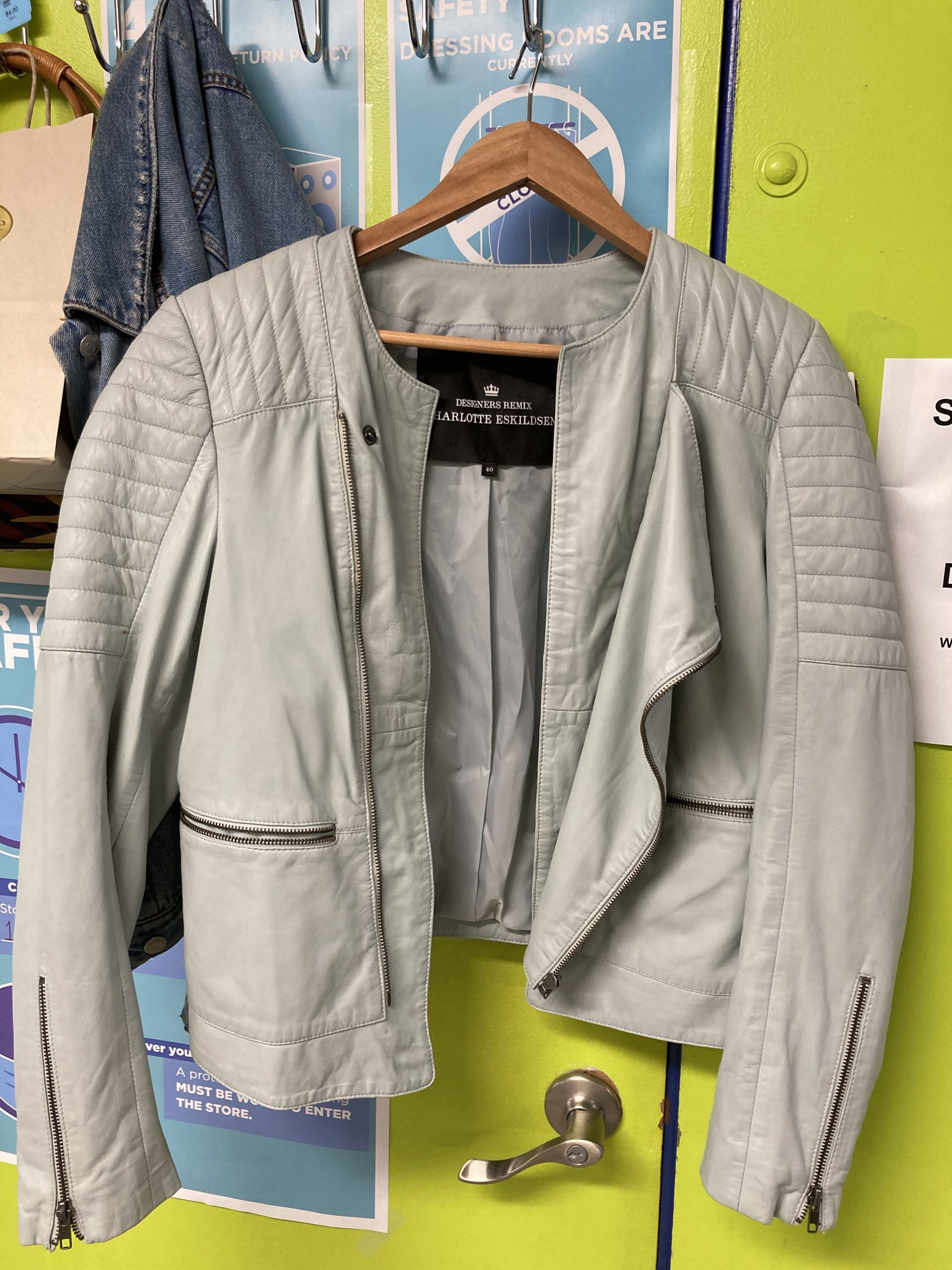 gray leather jacket at Goodwill