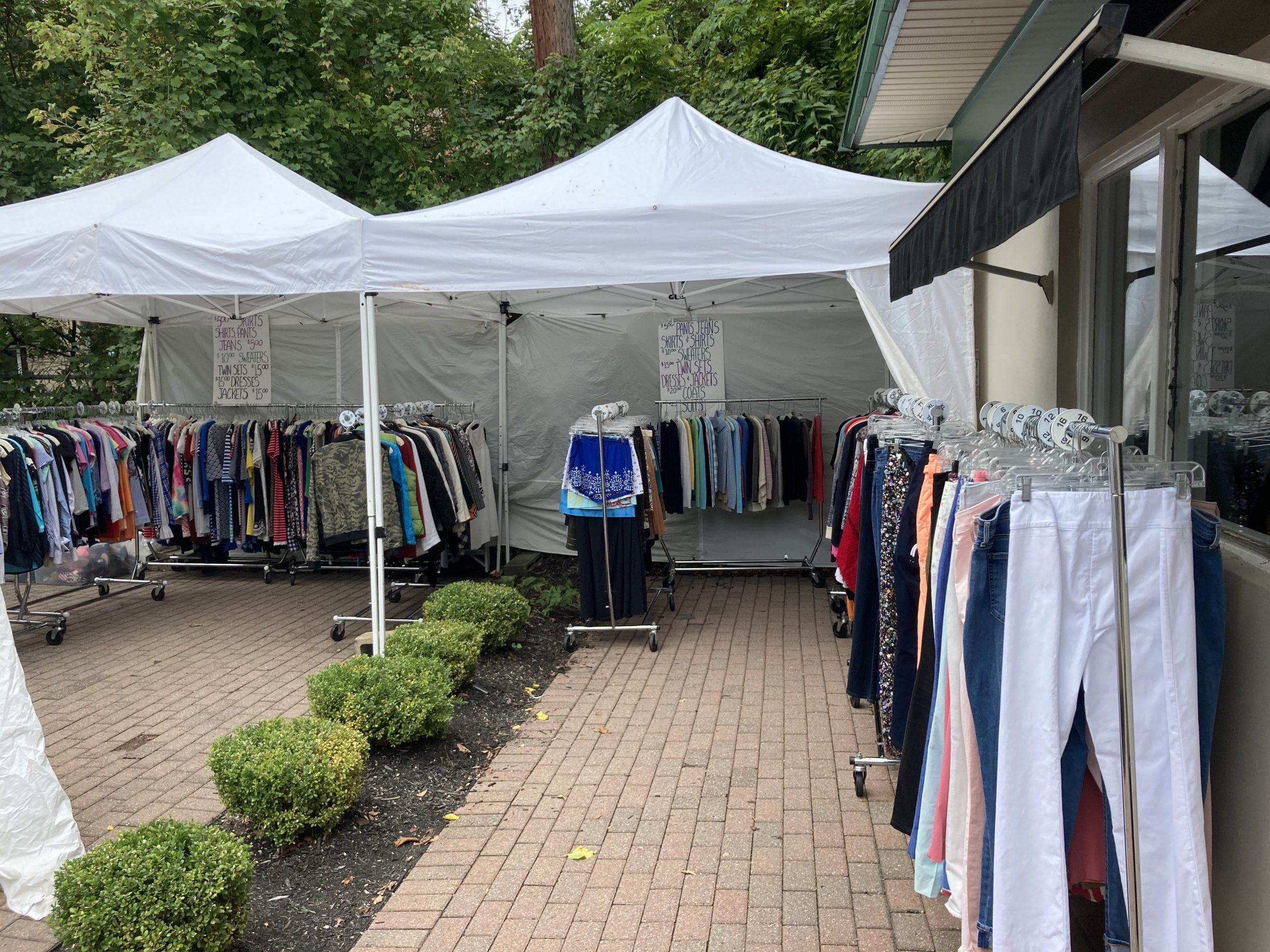 outdoor tent at sidewalk sale