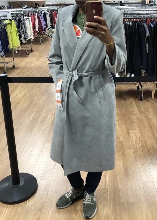 thrifted belted trench coat