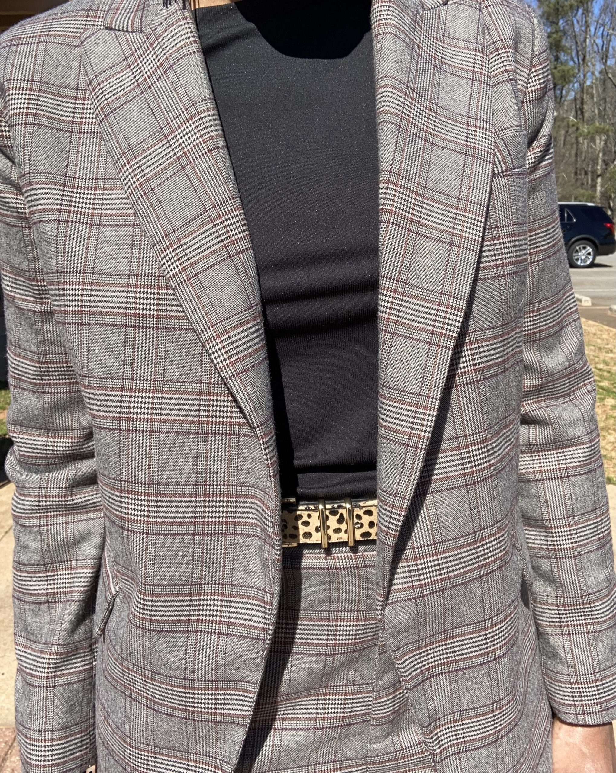 close up of plaid suit with leopard belt